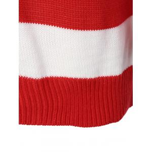 Flag Patterned Crew Neck Tunic Sweater - RED AND WHITE AND BLUE XL