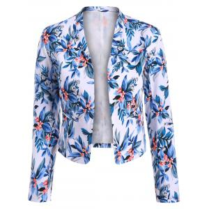 Short Floral Open Front Crop Blazer - Blue - S