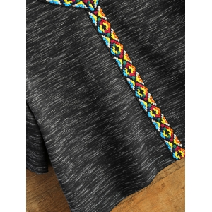 Space Dyed V Neck Cropped T-Shirt - BLACK 2XL