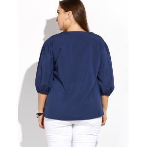 Plus Size Pleated Blouse - DEEP BLUE 5XL