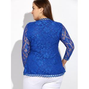 Wave Hem Plunging Lace Blouse - BLUE 5XL