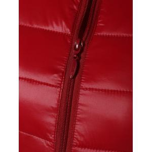 Zip Up Stand Collar Quilted Jacket - RED 3XL
