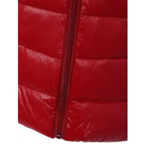 Zip Up Stand Collar Thin Quilted Jacket - RED 3XL