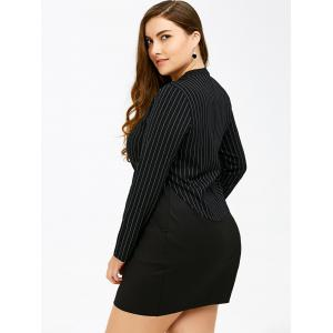 Long Sleeve Embellished Plus Size Bodycon Dress - BLACK 4XL