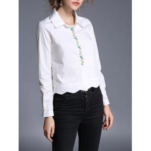 Wave Hem Embroidery Cropped Shirt - WHITE XL