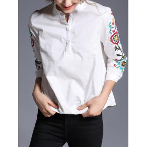 Pullover Stand Collar Embroidery Shirt -