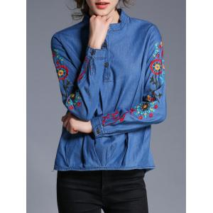 Embroidery Pullover Denim Shirt