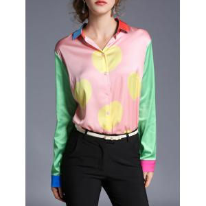 Satin Button Up Printed Color Block Shirt