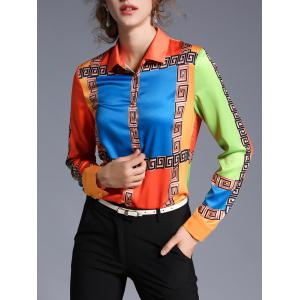 Geometric Printed Satin Color Block Shirt - Jacinth - Xl