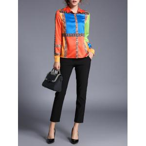 Geometric Printed Satin Color Block Shirt - JACINTH XL