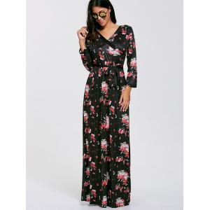 Belted Floral Long Sleeve Boho Maxi Dress -