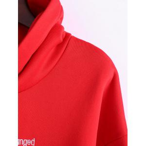 Plus Size Letter Embroidered Insert Hoodie -