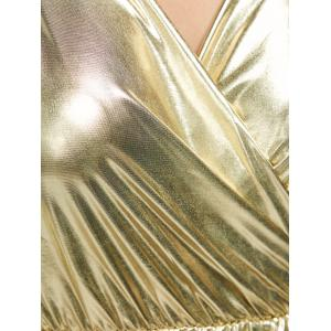 Long Sleeve Ruched Shiny Maxi Dress -