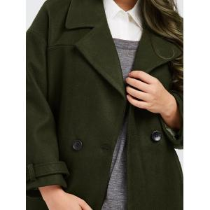 Plus Size Buttoned Wool Blend Longline Coat - ARMY GREEN XL