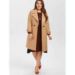 Plus Size Buttoned Wool Blend Longline Coat - CAMEL 2XL