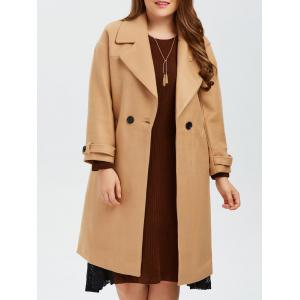 Plus Size Buttoned Wool Blend Longline Coat