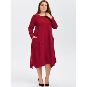 Plus Size Double Pockets Knitted Dress -