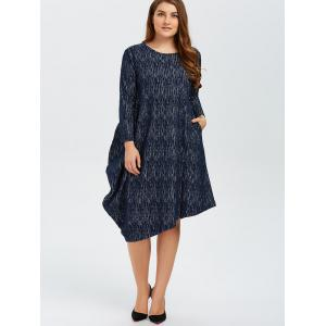 Plus Size Long Sleeves Asymmetrical Baggy Dress -