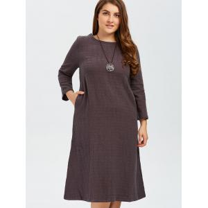 Plus Size Grid Linen Back Slit Dress -