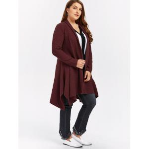 Plus Size Asymmetric Dotted Knitted Long Duster Cardigan - WINE RED 4XL