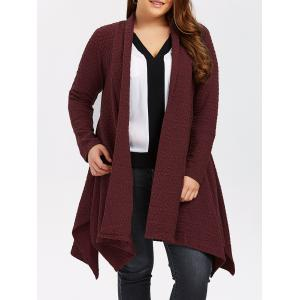 Plus Size Asymmetric Dotted Knitted Long Duster Cardigan - Wine Red - 3xl