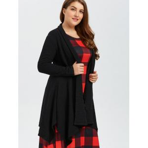 Black 3xl Plus Size Asymmetric Dotted Knitted Long Duster Cardigan ...