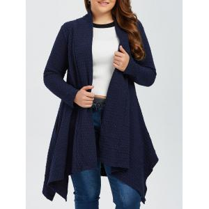 Plus Size Asymmetric Dotted Knitted Long Duster Cardigan - Purplish Blue - 2xl