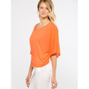 Batwing Sleeves Twist Open Back T-Shirt -