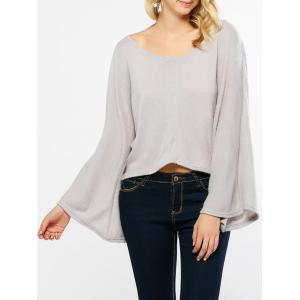 Flare Sleeves High Low Hem Knitwear - Light Gray - S