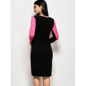 Color Block Kneel Length Sheath Dress -