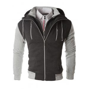 Color Block Zippers Faux Twinset Hoodie