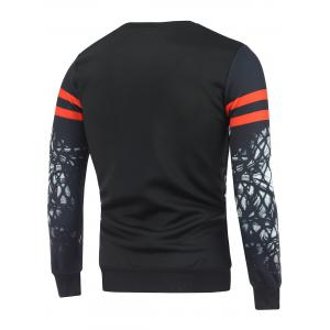 Crew Neck Figure Printed Varsity Striped Sweatshirt - BLACK L