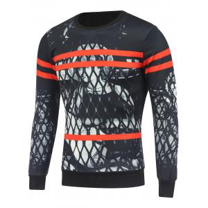 Crew Neck Figure Printed Varsity Striped Sweatshirt