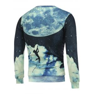 Crew Neck 3D Earth Man Printed Sweatshirt -
