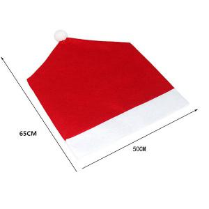 Christmas Table Party Decor Santa Hat Chair Cover -