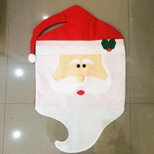 Dinner Table Decor Christmas Supplies Mr Santa Chair Back Cover - RED/WHITE