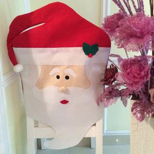 Dinner Table Decor Christmas Supplies Mr Santa Chair Back Cover - Red With White - W55 Inch * L78 Inch