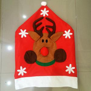 Christmas Supplies Dinner Decoration Elk Pattern Chair Back Cover - RED