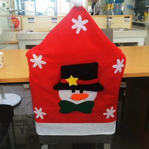 Dinner Table Decor Christmas Supplies Snowman Chair Back Cover - Red - 70