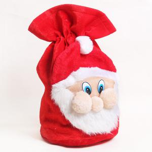 Merry Christmas Santa Claus Plush Candy Gift Bag -
