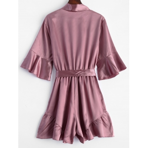 Belted Flounce Satin Ruffle Romper - PINK XL