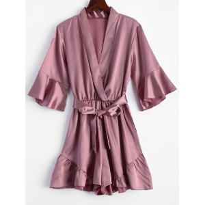 Belted Flounce Satin Ruffle Romper