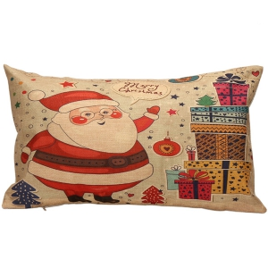 Santa Gift Printed Christmas Bed Throw Rectangle Pillow Cover