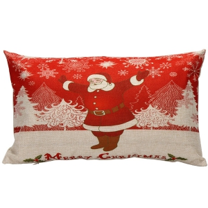 Xmas Santa Printed Christmas Bed Throw Pillow Cover