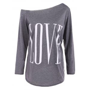 Skew Neck LOVE Print T-Shirt - Gray - Xl