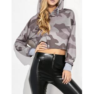 Camouflage Print Hooded Crop Top - Camouflage Color - M