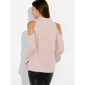 Mock Neck Open Shoulder Knitted Sweater -