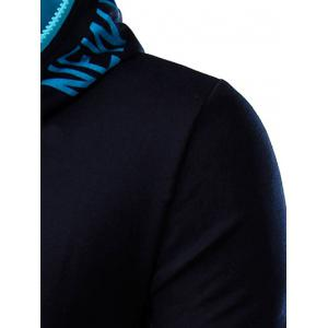 Hooded Color Block Zipper Design Hoodie - CADETBLUE 2XL