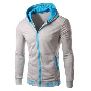 Hooded Color Block Zipper Design Hoodie