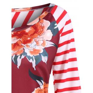 Floral Print Striped Elbow Patch Tee -